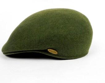 Mens Hat, Original KANGUROO Panizza Hat, Waterproof, Wool Men's Beret, Green, Size L