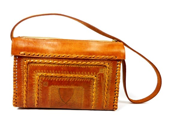 Hand Made Calf Leather Shoulder Bag, Embossed Leat