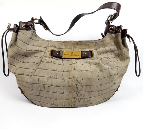 ETIENNE AIGNER Handtasche, echtes Leder braun Beige, Aigner Schultertasche, hergestellt in Italien