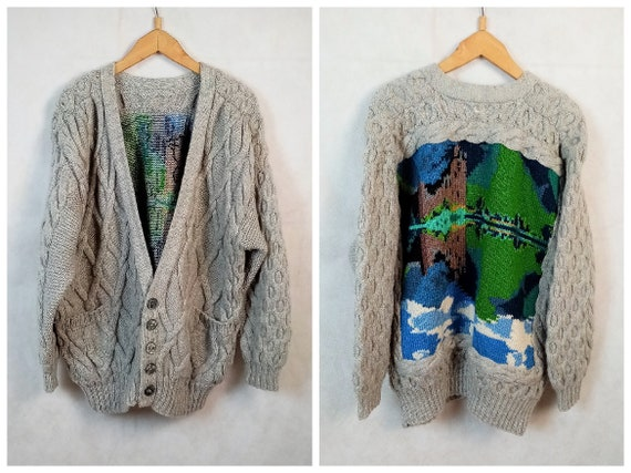 Vintage Men's Chunky Cable Knit Wool Abstract Land
