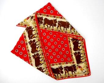 vintage cotton skarf, Lehner cotton scarf, swiss shawl, swiss cows shawl, swiss rural pattern, swiss  bandana