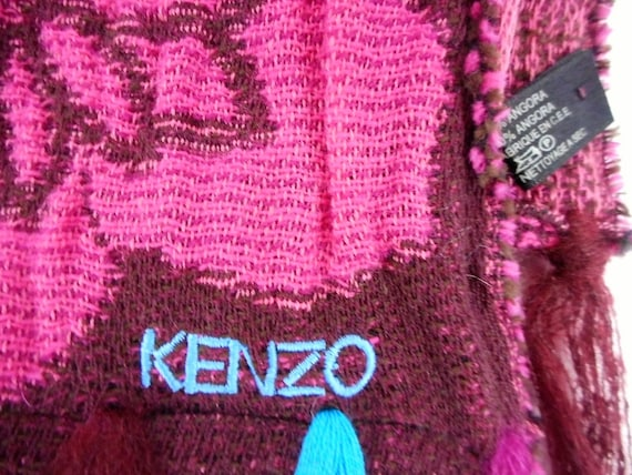 Kenzo  Scarf  Wool and Angora Colorful  Fringed L… - image 5