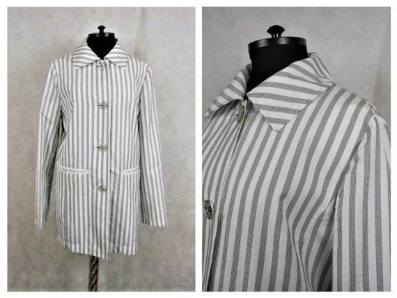 Vintage Betty Barclay Jacket, Striped Black & Whit
