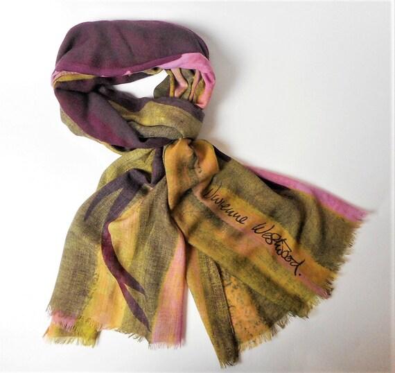 Vivienne Westwood Wool Scarf, Burgundy Pink Green