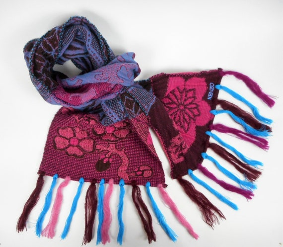 Kenzo  Scarf  Wool and Angora Colorful  Fringed Lo