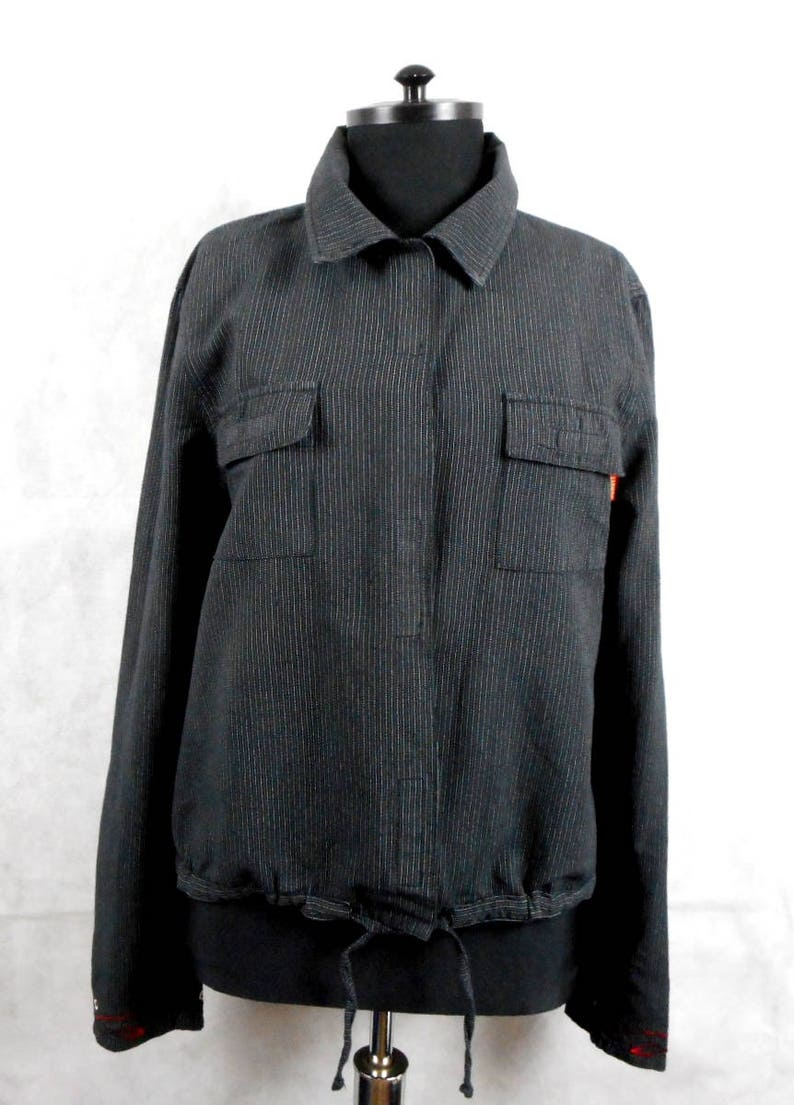 Kenzo Jacket with Embroidery  Black with Stripeds Size 16 Vintage Kenzo Jungle Top