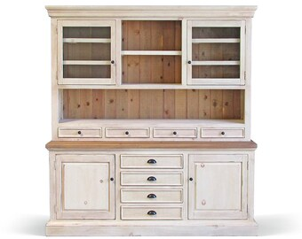 Hutch Buffet Sideboard Reclaimed Wood Farmhouse China Cabinet Handmade Rustic