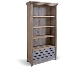 Bookcase, Bookshelves, Farmhouse, Reclaimed Wood, Display Cabinet, Shelves, Cabinet, Handmade, Rustic