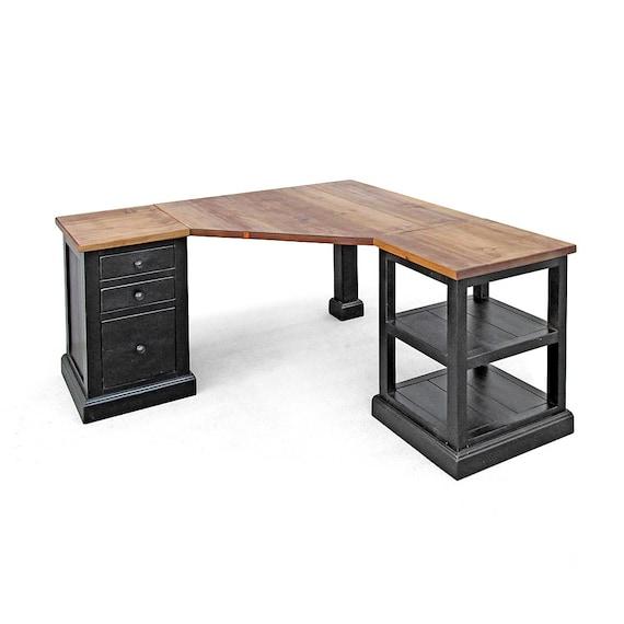 Desk Corner Desk Reclaimed Wood File Cabinet Bookshelf | Etsy