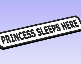 Princess Lives Here Vintage Street Sign