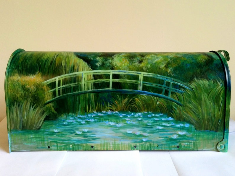 Hand-Painted Water Lilies Mailbox