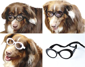 3161dc902d4 G007 Dog Oval Round Bold Thick Frame Clear Lens Glasses Sunglasses Medium  to Large Dogs 20lbs   Over for Daily wear Costume Photo shoot