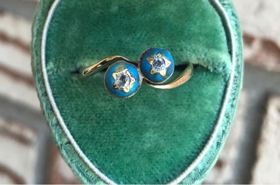 Antique Blue Enamel Diamond Star Moi et Toi Ring 9