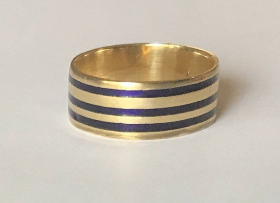 Antique Enamel Mourning Gold Ring