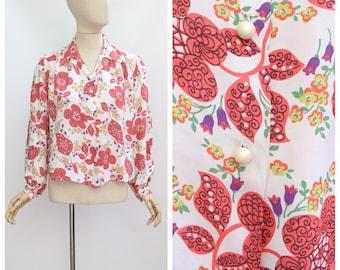 15c79d0b7e632d Vintage 1940 s blouse vintage 1940 s silk floral blouse original 1940 s  silk shirt forties novelty print blouse 1940 s shirt silk mix UK 14