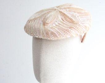 Vintage 1950's Hat 1950's sequin perch hat 1950's tilt hat original 1950's pink hat vintage 1950's wedding hat sequin hat 50s revival bridal