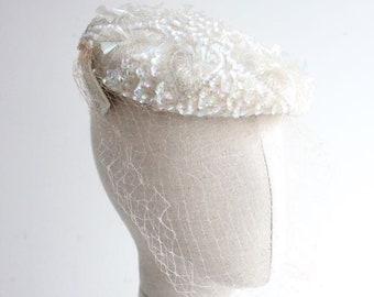 Vintage 1950's Hat 1950's sequin perch hat 1950's tilt hat original 1950's tilt hat vintage 1950's wedding hat sequin hat 50s revival bridal