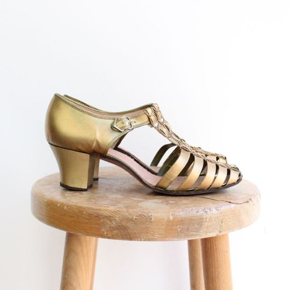 63b4cc6f8a7 Vintage 1930's Gold Strap T Bar Shoes sling back dancing shoes art deco  thirties 30's