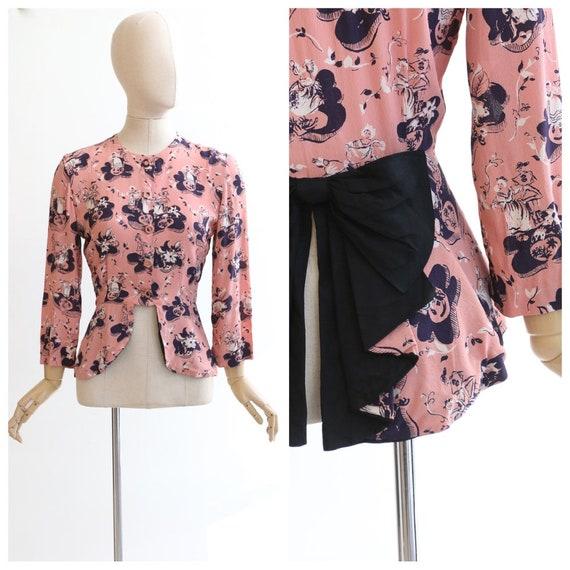 Vintage 1940's blouse vintage 1940's crepe silk bl