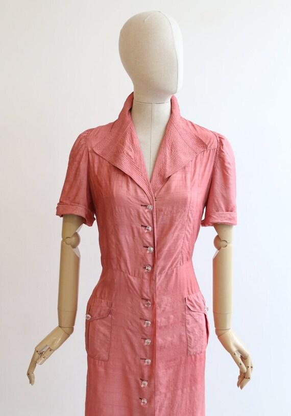 Vintage 1940's dress vintage 1940's blush pink si… - image 3