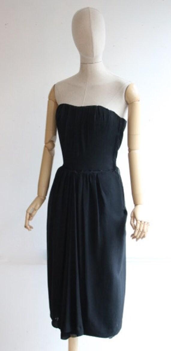 Vintage 1950's dress 1950's black dress 1950's wi… - image 6