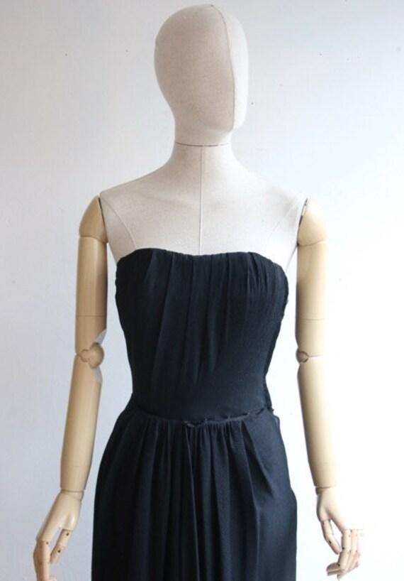 Vintage 1950's dress 1950's black dress 1950's wi… - image 3