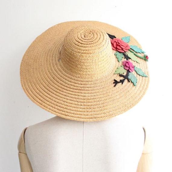 b0a07fec2 Vintage 1930's straw hat wide brimmed sun hat felt appliqué flower ...