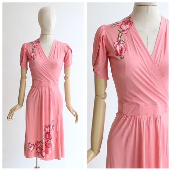 Vintage 1940's dress vintage 1940's pink silk jer… - image 1