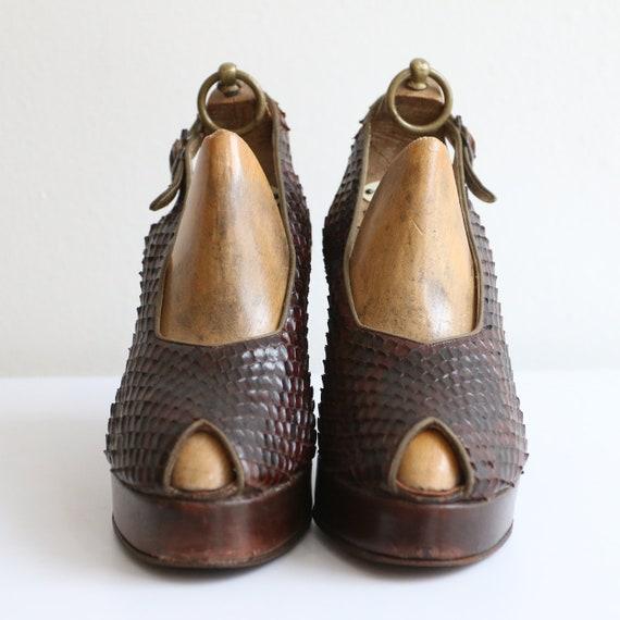 Vintage 1940's platform heels vintage 1940's slin… - image 6