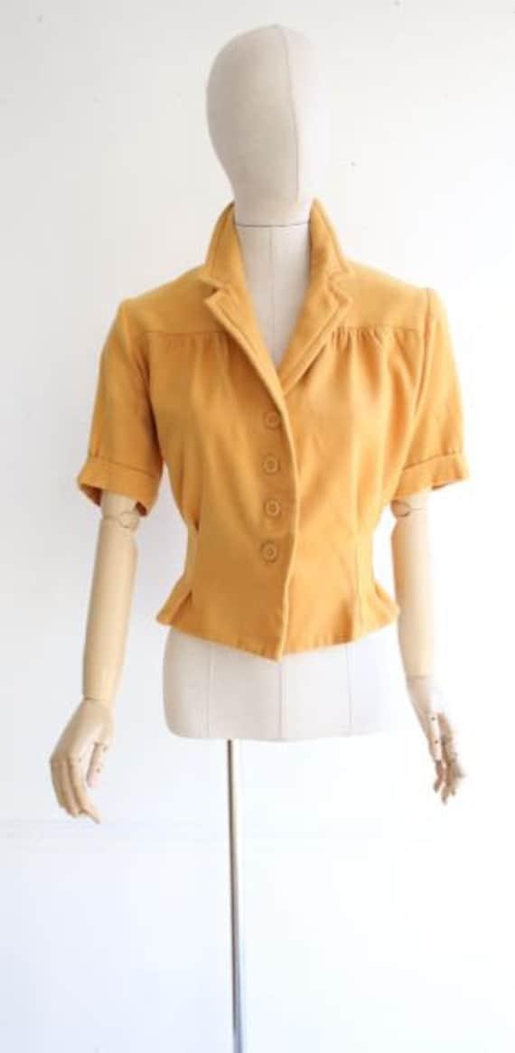 17d42371ef0 Vintage 1940's Blouse 1940's wool blouse 1940's revival 1940's mustard wool  peplum blouse landgirl 40's revival goodwood forties UK 14-16