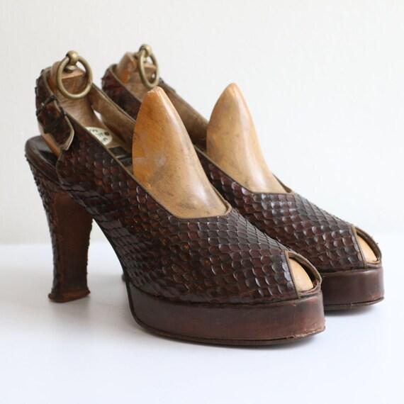 Vintage 1940's platform heels vintage 1940's slin… - image 7