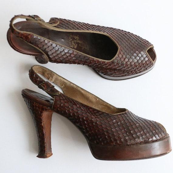Vintage 1940's platform heels vintage 1940's slin… - image 2
