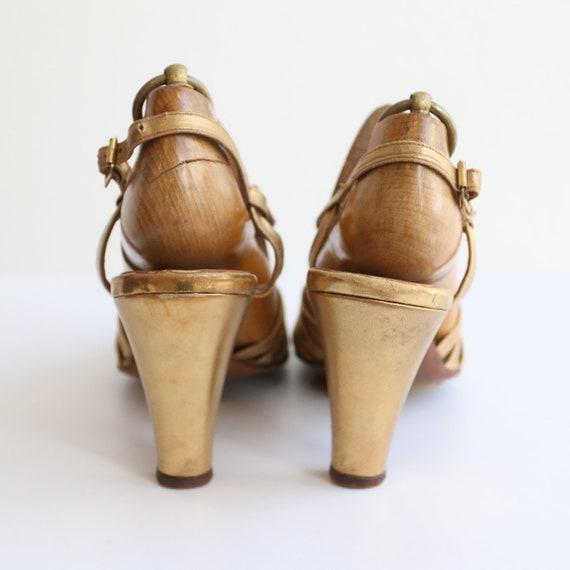 Vintage 1930's Gold heels original 1930's gold sa… - image 5