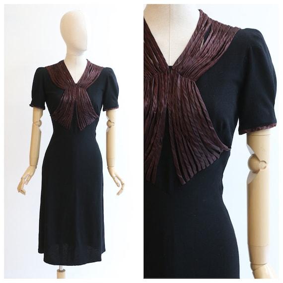 Vintage 1930's black dress vintage late 1930's rib