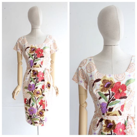 Vintage 1950's dress 1950's floral dress 1950's ba