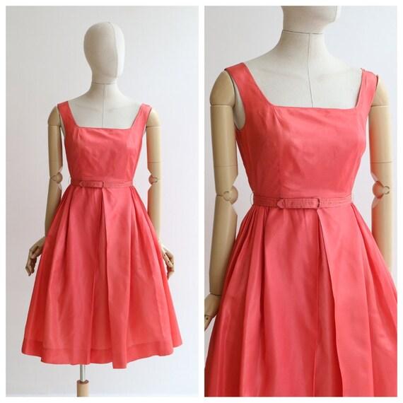 Vintage 1950's dress vintage 1950's coral dress 19