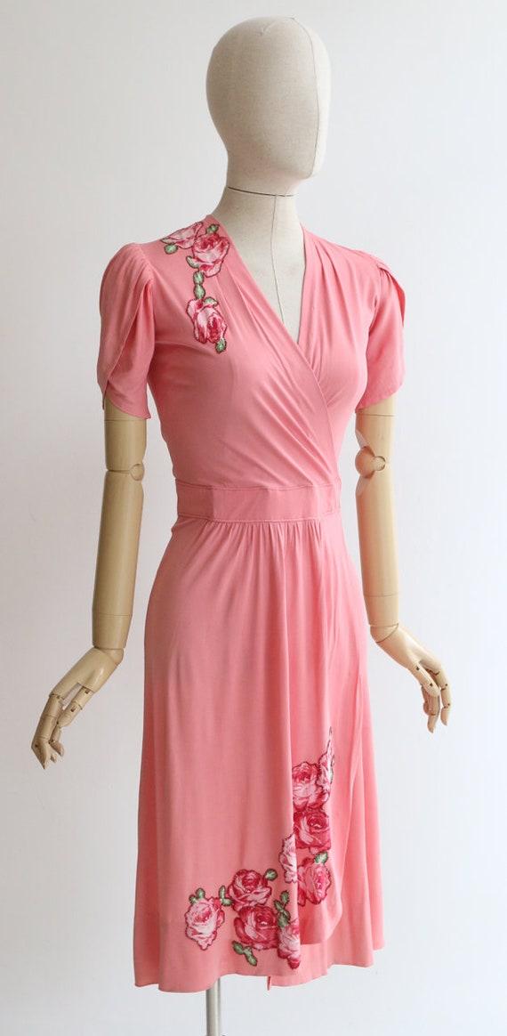 Vintage 1940's dress vintage 1940's pink silk jer… - image 6