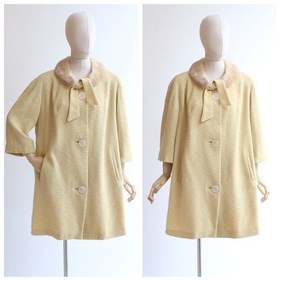 Vintage 1960's yellow bouclé wool coat original 19