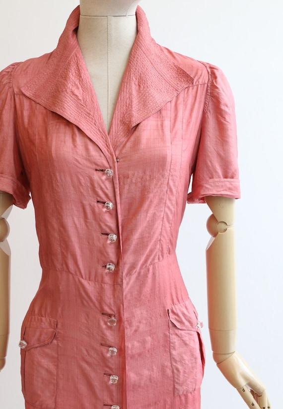 Vintage 1940's dress vintage 1940's blush pink si… - image 4