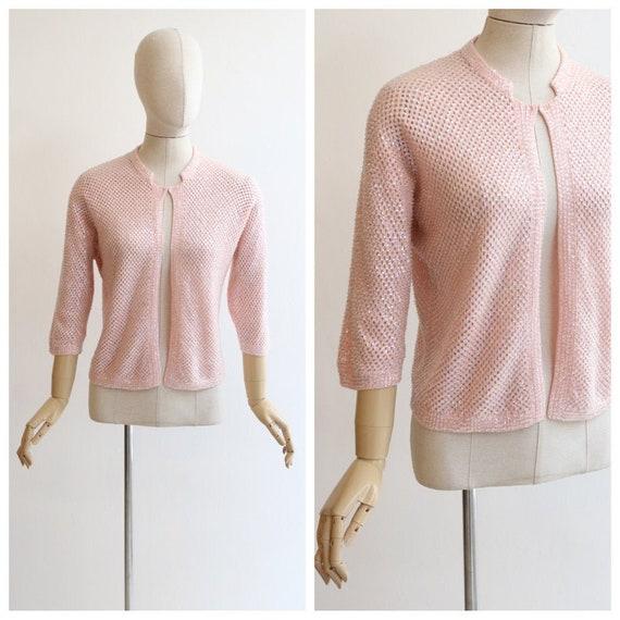 Vintage 1950's cardigan vintage 1950's pink sequin