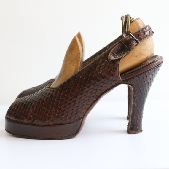 Vintage 1940's platform heels vintage 1940's slin… - image 5