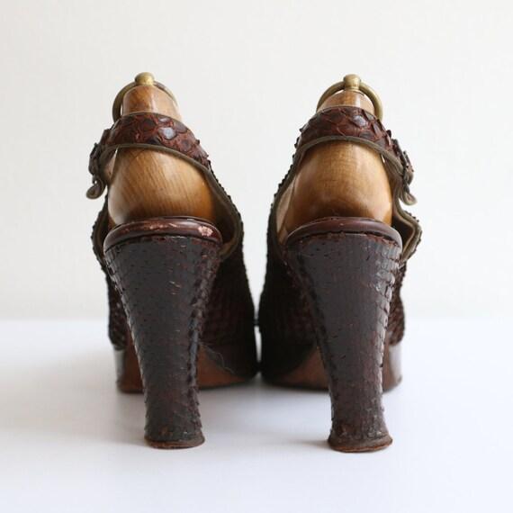 Vintage 1940's platform heels vintage 1940's slin… - image 4