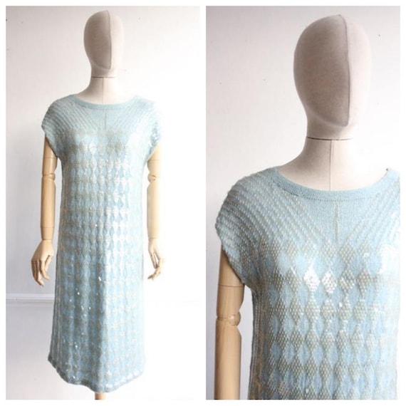 vintage 1960's sequin dress vintage knitted sequin