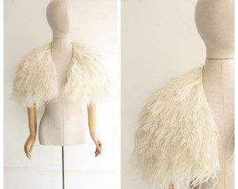 Vintage 1930's Ostrich Feather Jacket art deco feather cropped jacket white feather boa vintage jacket thirties 30's flapper ostrich UK 8-10