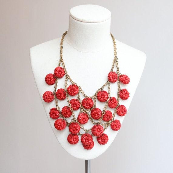 Vintage 1930's necklace vintage 1930's red floral