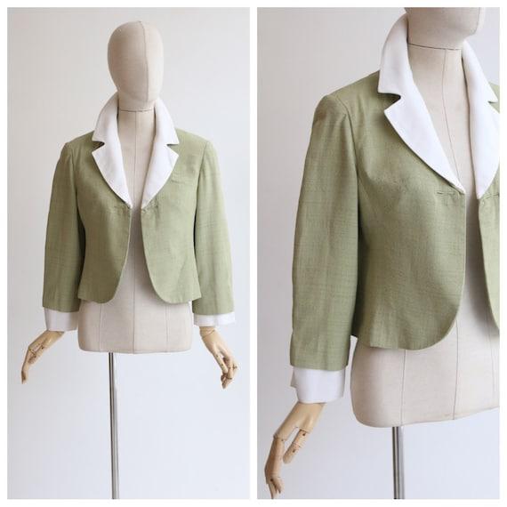 Vintage 1950's jacket 1950's pistachio green linen