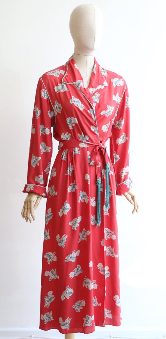 Vintage 1940's housecoat original 1940's coral pi… - image 6