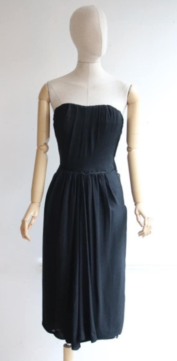 Vintage 1950's dress 1950's black dress 1950's wi… - image 2