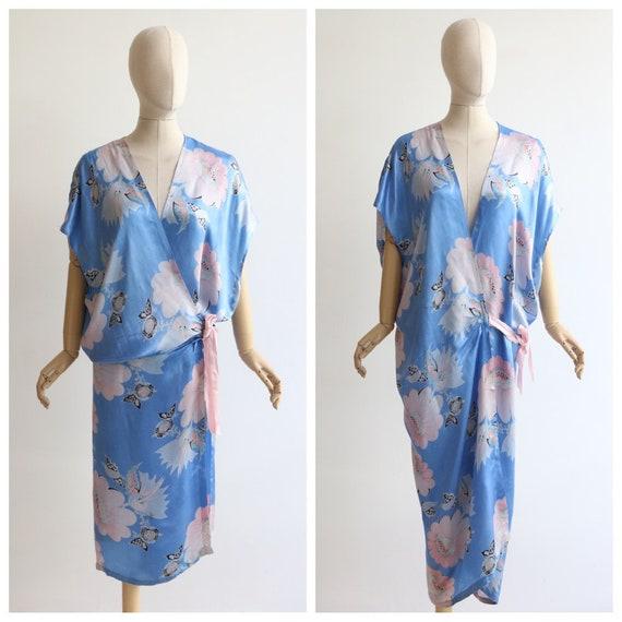 Vintage 1930's Robe vintage 1930's blue floral dre