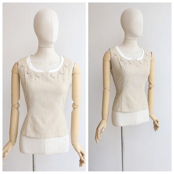 Vintage 1950's blouse original 1950's linen blouse
